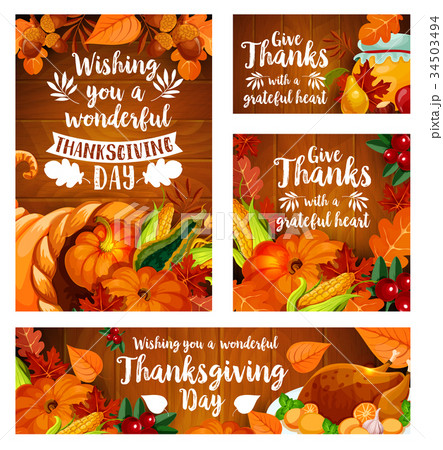 thanksgiving day greeting card template setのイラスト素材 34503494