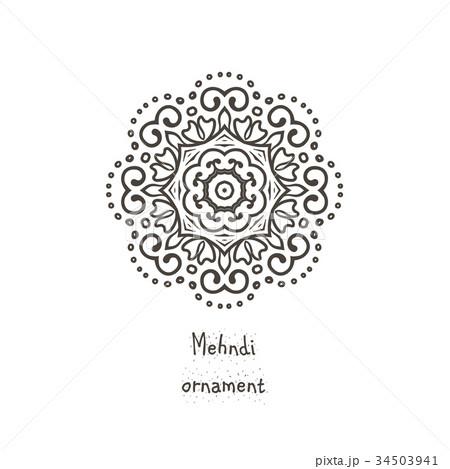 vector ethnic mehndi pattern template circularのイラスト素材