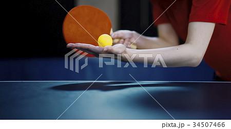 卓球のサーブ 構え 34507466