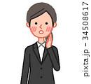 黒スーツ 女性 正面 赤面 34508617