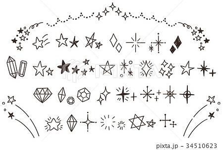 キラキラ・星のかわいい手描きアイコンのセット(線画・透過) 34510623