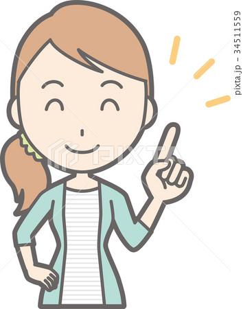 縞模様の服を着た若い女性が笑顔で指差しをしているイラストの
