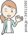縞模様の服を着た若い女性がOKサインをしているイラスト 34511560