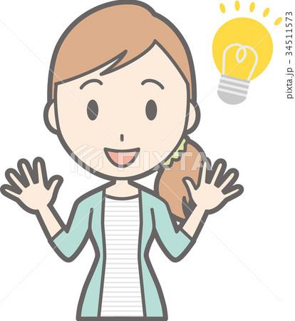 縞模様の服を着た若い女性がアイデアを閃いているイラストのイラスト素材
