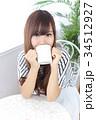 女性 若い カフェの写真 34512927