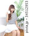 女性 若い カフェの写真 34512953
