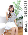 女性 若い カフェの写真 34512955