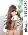 女性 若い カフェの写真 34512960