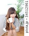 女性 若い カフェの写真 34512961