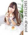 女性 若い カフェの写真 34512965