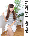 女性 若い カフェの写真 34512975