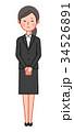 黒スーツ 女性 正面 お詫び 34526891