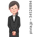 黒スーツ 女性 正面 手を組む 34526894