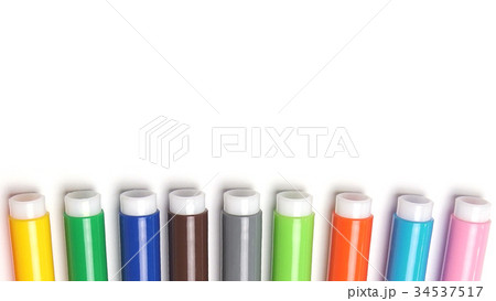 Varicoloured markers on the white isolated 34537517