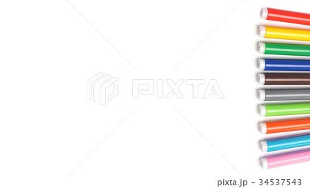 Multicolored Felt Tip Pens on White Background. 34537543