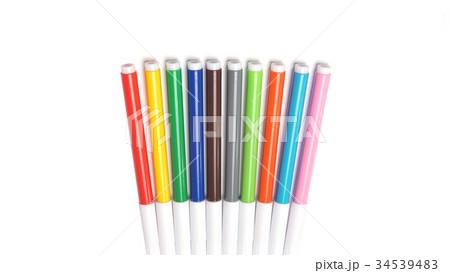 Multicolored Felt Tip Pens on White Background. 34539483