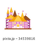 Pink fairy tale castle with golden roof vector 34539816