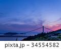 岡山 鷲羽山展望台からの瀬戸大橋の夕焼け 34554582