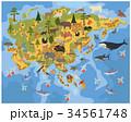 Flat Asian flora and fauna map constructor element 34561748