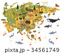 Flat Asian flora and fauna map constructor element 34561749