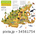 Isometric 3d Asian flora and fauna map constructor 34561754