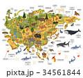 Flat Asian flora and fauna map constructor element 34561844