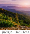 山 夕日 夕焼の写真 34563283