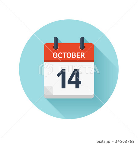 october 14 vector flat daily calendar icon dateのイラスト素材