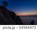 【静岡県西伊豆】三日月の上がった黄金崎の夕景 34564973