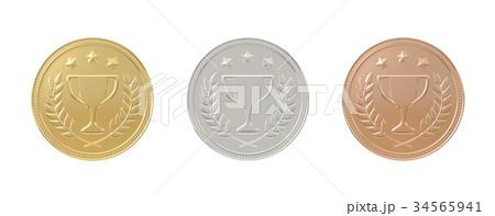 Gold, silver, bronze medals set 34565941