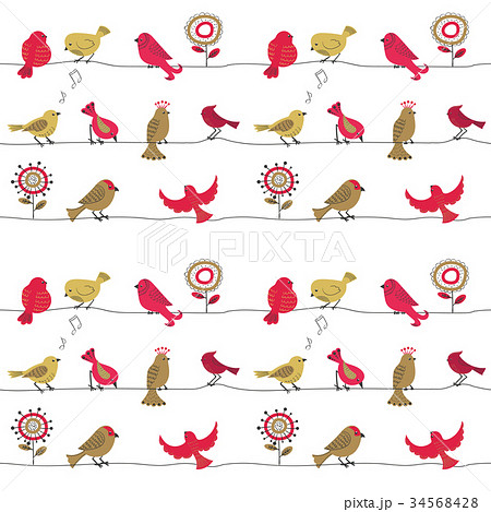 Cute birds on wire seamless pattern. 34568428