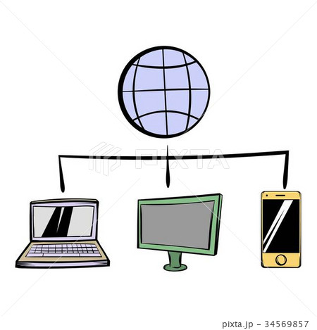 globe with computers and mobile phone icon cartoonのイラスト素材