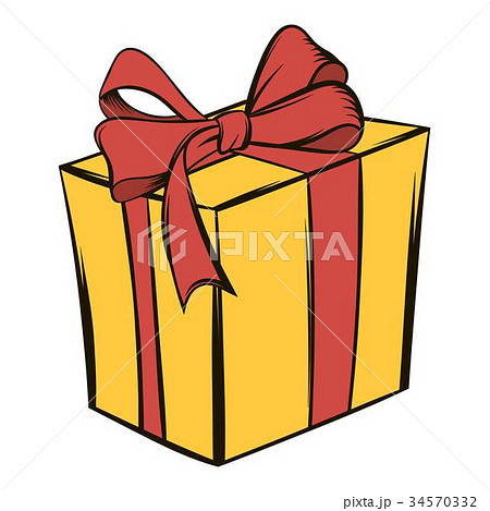 Yellow gift box with a red ribbon icon cartoon yellow gift box with a red ribbon icon cartoon negle Image collections