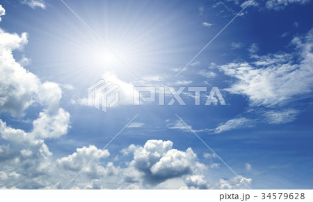 Blue sky white clouds Abstract 34579628