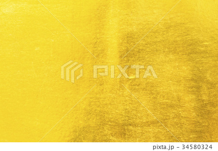 Shiny yellow leaf gold foil texture 34580324