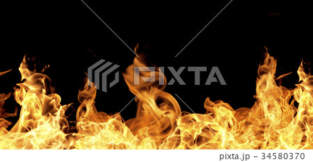 Fire flames on a black background 34580370