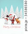 サンタクロースとトナカイと雪だるま 3Dイラスト 34586580