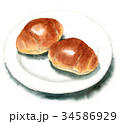 パン 水彩 バターロールのイラスト 34586929