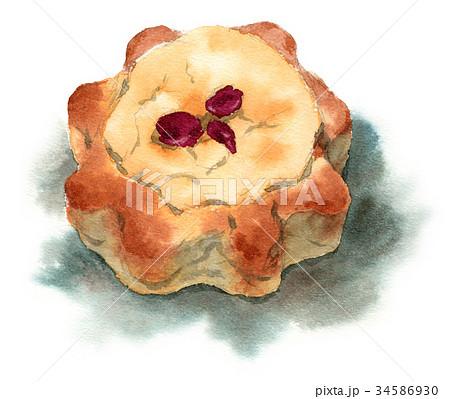水彩で描いた菓子パン 34586930