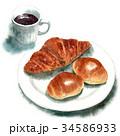パン 水彩 コーヒーのイラスト 34586933