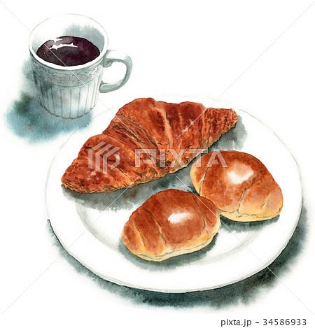 水彩で描いたパンとコーヒー 34586933