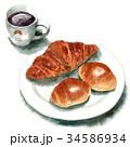 パン 水彩 コーヒーのイラスト 34586934