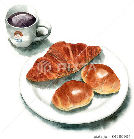 水彩で描いたパンとコーヒー 34586934