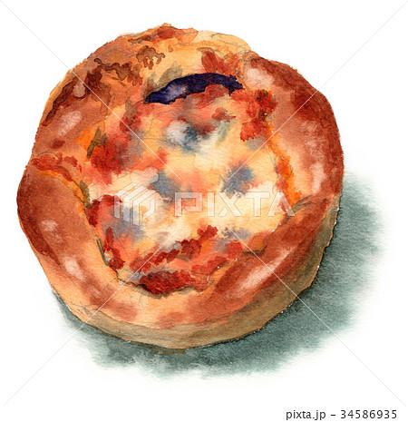 水彩で描いたナスミートパン 34586935