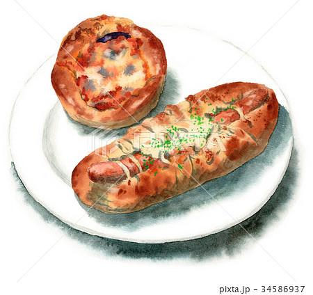水彩で描いた総菜パン2種 34586937