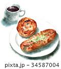 水彩で描いたパンとコーヒー 34587004
