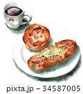 パン 水彩 コーヒーのイラスト 34587005