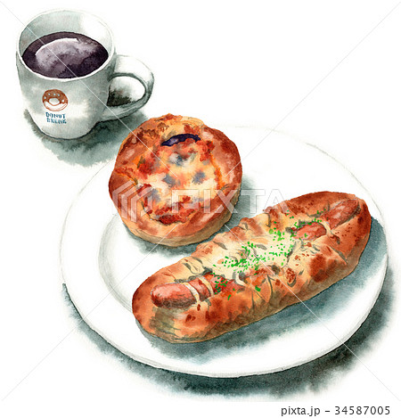 水彩で描いたパンとコーヒー 34587005