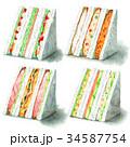 サンドイッチ 水彩 断面のイラスト 34587754