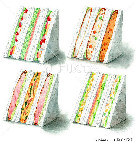 水彩で描いたサンドイッチ4種 34587754